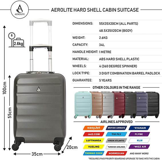 comprar maleta de mano cabina aerolite abs colores